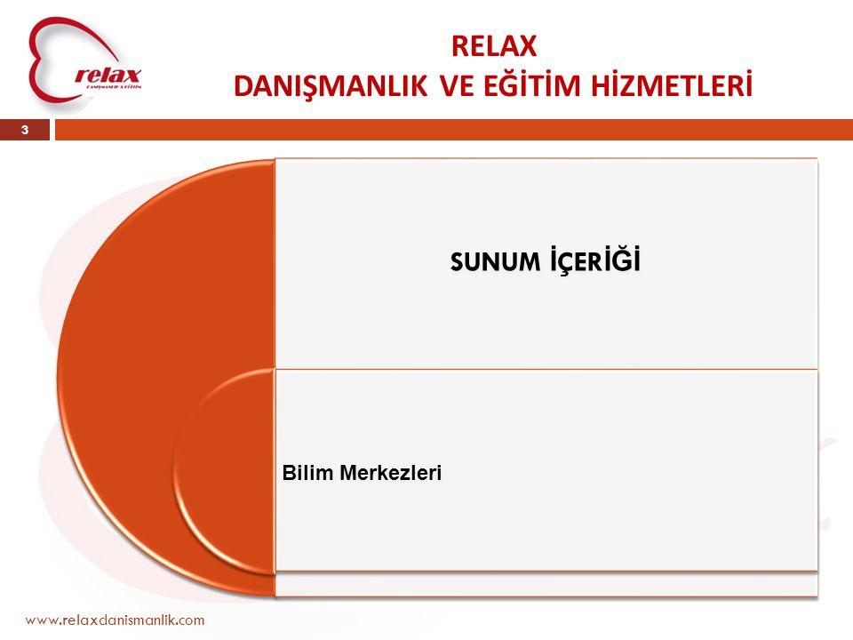 RELAX DANIŞMANLIK VE EĞİTİM HİZMETLERİ www.relaxdanismanlik.com 3 SUNUM İ ÇER İĞİ Bilim Merkezleri