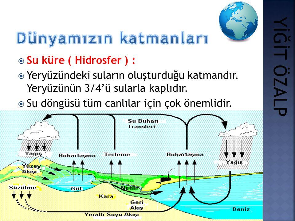  Su küre ( Hidrosfer ) :  Yeryüzündeki suların oluşturduğu katmandır. Yeryüzünün 3/4'ü sularla kaplıdır.  Su döngüsü tüm canlılar için çok önemlidi