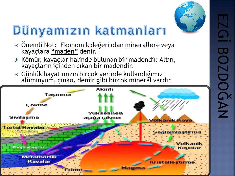 """ Önemli Not: Ekonomik değeri olan minerallere veya kayaçlara """"maden"""" denir.  Kömür, kayaçlar halinde bulunan bir madendir. Altın, kayaçların içinden"""