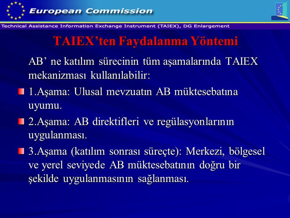 TAIEX'ten Faydalanma Yöntemi AB' ne katılım sürecinin tüm aşamalarında TAIEX mekanizması kullanılabilir: 1.Aşama: Ulusal mevzuatın AB müktesebatına uy