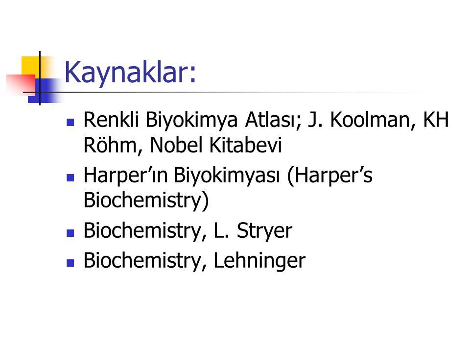 Kaynaklar:  Renkli Biyokimya Atlası; J.