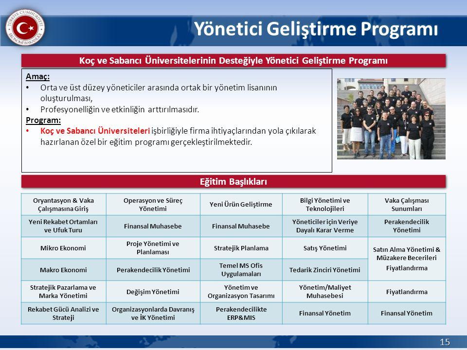 Yönetici Geliştirme Programı 15 Koç ve Sabancı Üniversitelerinin Desteğiyle Yönetici Geliştirme Programı Amaç: • Orta ve üst düzey yöneticiler arasınd
