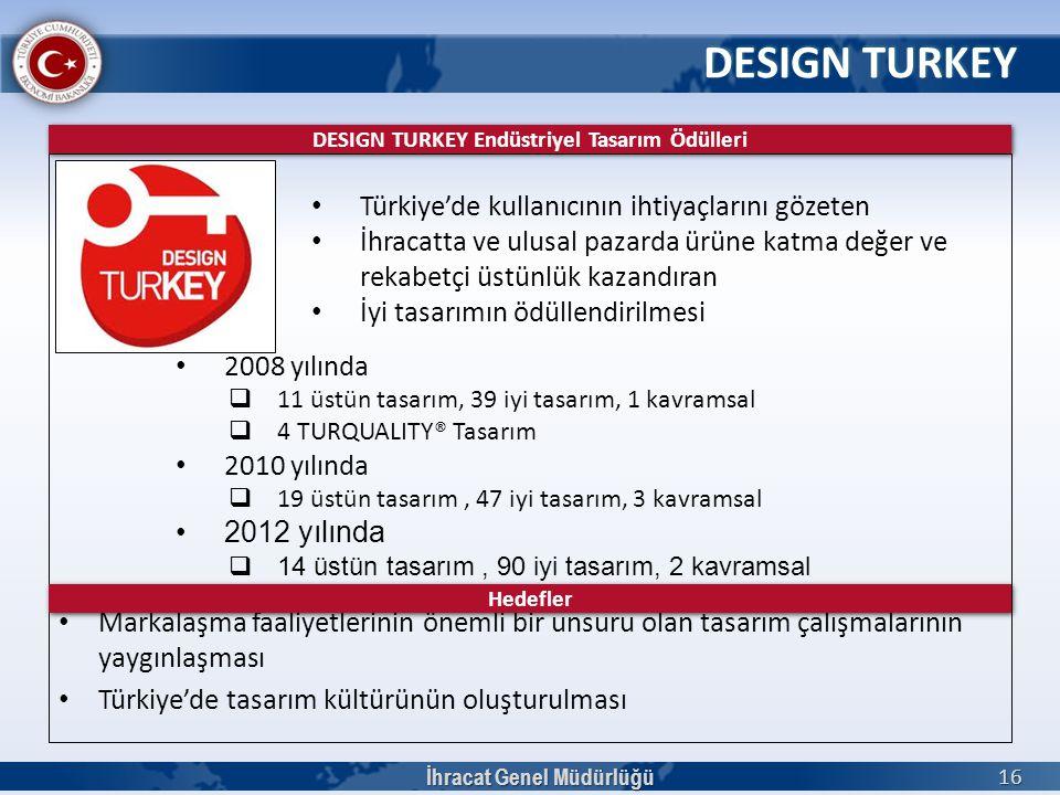 DESIGN TURKEY İhracat Genel Müdürlüğü 16 • Türkiye'de kullanıcının ihtiyaçlarını gözeten • İhracatta ve ulusal pazarda ürüne katma değer ve rekabetçi