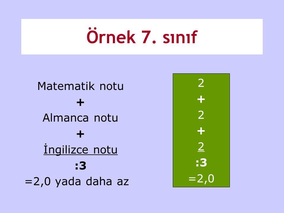 Örnek 7. sınıf Matematik notu + Almanca notu + İngilizce notu :3 =2,0 yada daha az 2 + 2 + 2 :3 =2,0