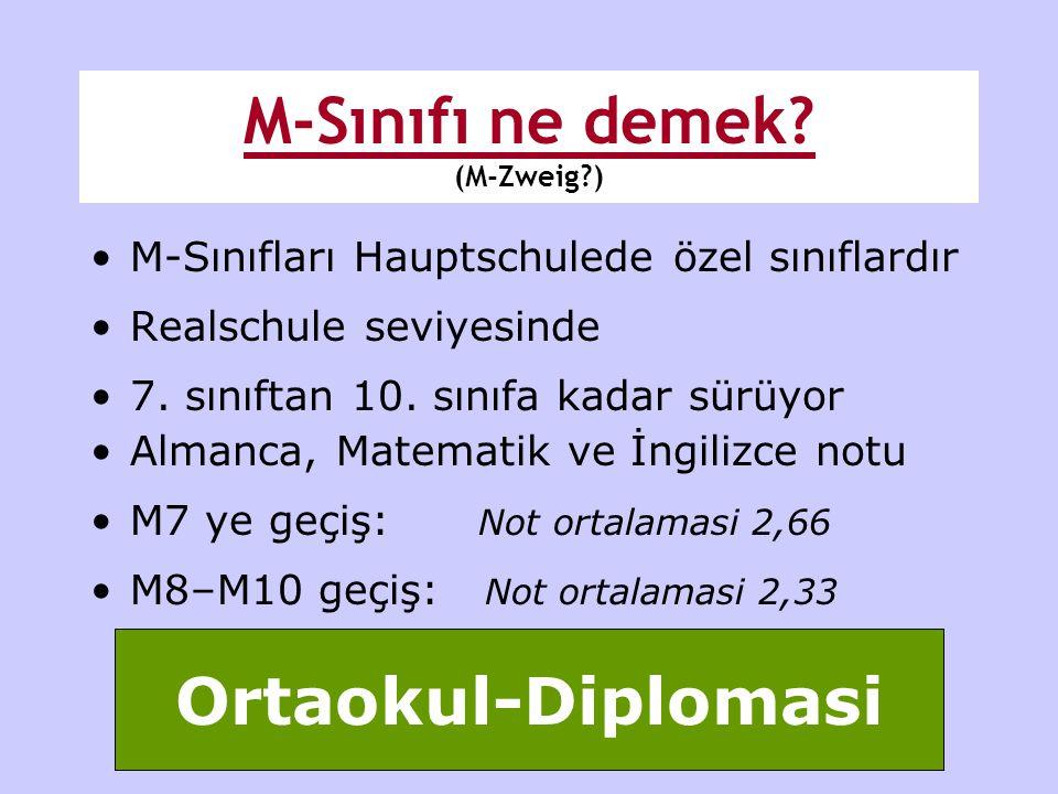 •M-Sınıfları Hauptschulede özel sınıflardır •Realschule seviyesinde •7. sınıftan 10. sınıfa kadar sürüyor •Almanca, Matematik ve İngilizce notu •M7 ye