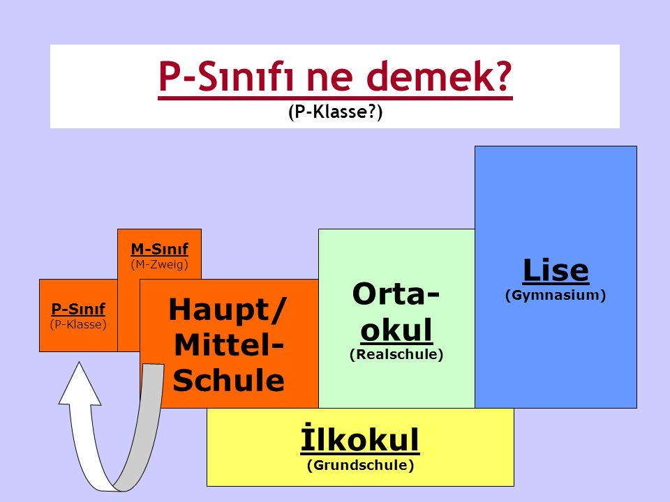 İlkokul (Grundschule) Orta- okul (Realschule) Lise (Gymnasium) M-Sınıf (M-Zweig) P-Sınıf (P-Klasse) Haupt/ Mittel- Schule P-Sınıfı ne demek? (P-Klasse