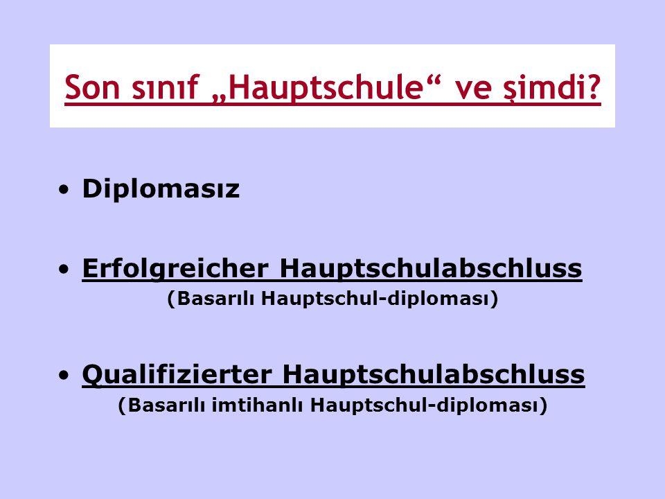 """Son sınıf """"Hauptschule"""" ve şimdi? •Diplomasız •Erfolgreicher Hauptschulabschluss (Basarılı Hauptschul-diploması) •Qualifizierter Hauptschulabschluss ("""