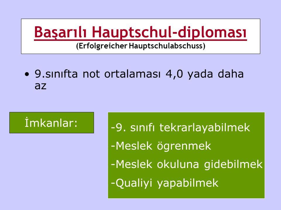 Başarılı Hauptschul-diploması (Erfolgreicher Hauptschulabschuss) •9.sınıfta not ortalaması 4,0 yada daha az İmkanlar: -9. sınıfı tekrarlayabilmek -Mes