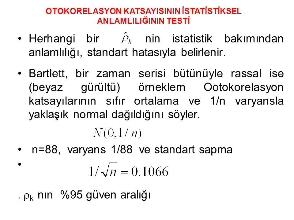 •Herhangi bir nin istatistik bakımından anlamlılığı, standart hatasıyla belirlenir.