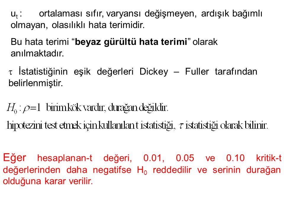 u t : ortalaması sıfır, varyansı değişmeyen, ardışık bağımlı olmayan, olasılıklı hata terimidir.