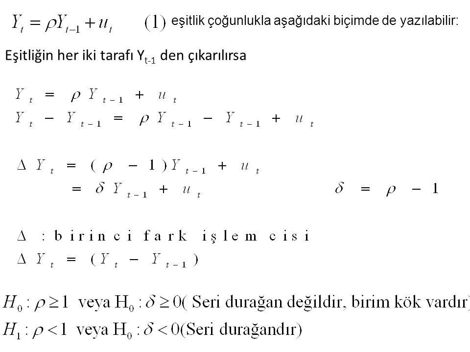 Eşitliğin her iki tarafı Y t-1 den çıkarılırsa eşitlik çoğunlukla aşağıdaki biçimde de yazılabilir: