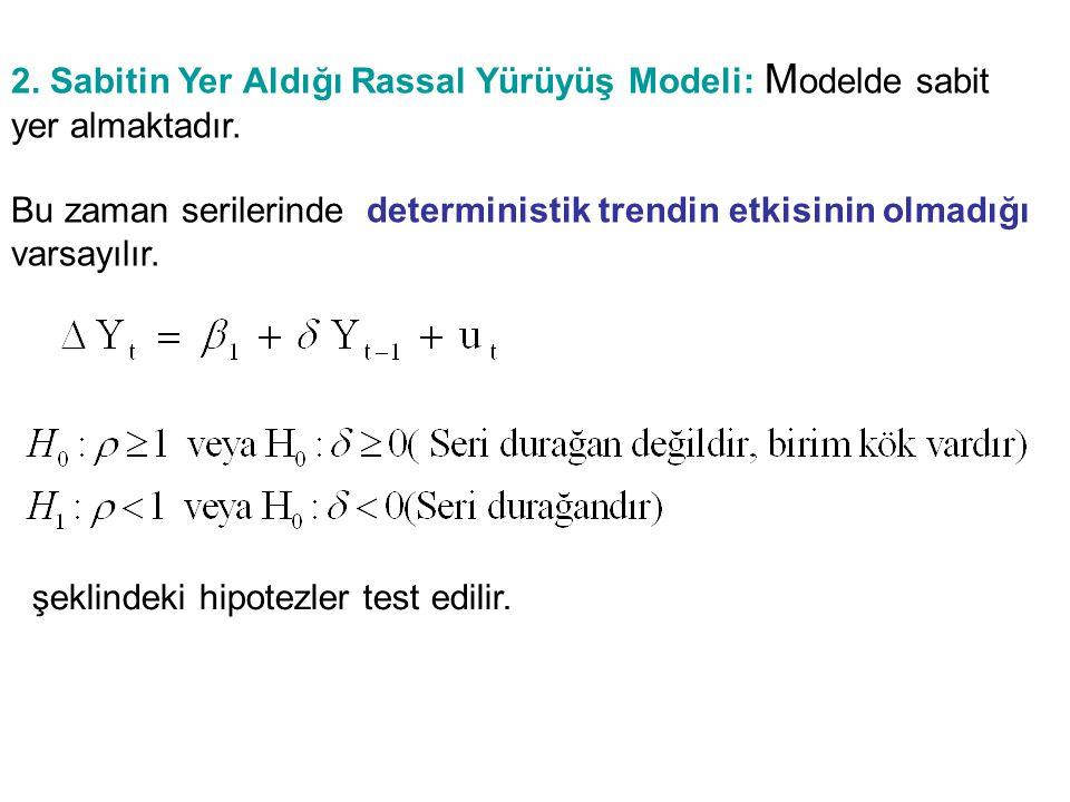 2.Sabitin Yer Aldığı Rassal Yürüyüş Modeli: M odelde sabit yer almaktadır.