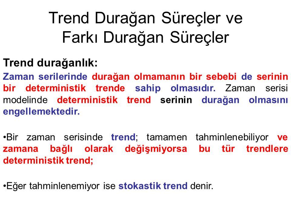 Trend Durağan Süreçler ve Farkı Durağan Süreçler Trend durağanlık: Zaman serilerinde durağan olmamanın bir sebebi de serinin bir deterministik trende sahip olmasıdır.