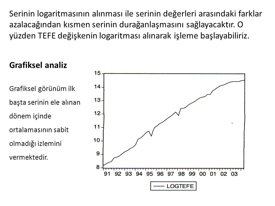 Serinin logaritmasının alınması ile serinin değerleri arasındaki farklar azalacağından kısmen serinin durağanlaşmasını sağlayacaktır.