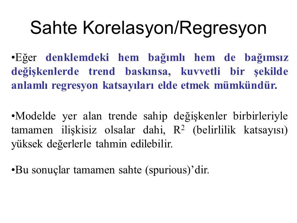 Sahte Korelasyon/Regresyon •E•Eğer denklemdeki hem bağımlı hem de bağımsız değişkenlerde trend baskınsa, kuvvetli bir şekilde anlamlı regresyon katsayıları elde etmek mümkündür.