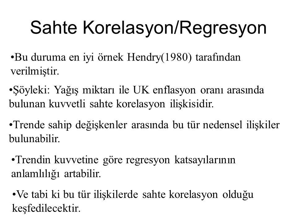 •B•Bu duruma en iyi örnek Hendry(1980) tarafından verilmiştir.