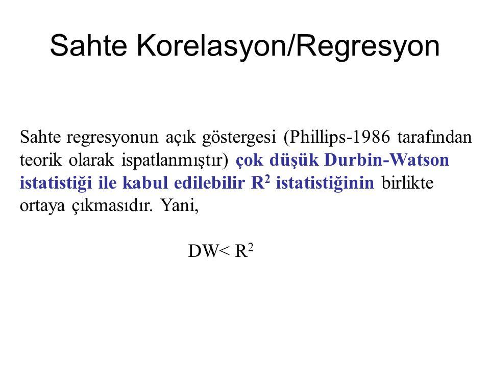 Sahte regresyonun açık göstergesi (Phillips-1986 tarafından teorik olarak ispatlanmıştır) çok düşük Durbin-Watson istatistiği ile kabul edilebilir R 2 istatistiğinin birlikte ortaya çıkmasıdır.