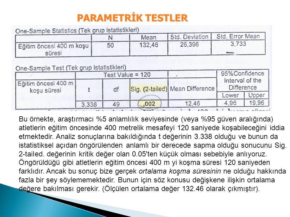 PARAMETRİK TESTLER Bu örnekte, araştırmacı %5 anlamlılık seviyesinde (veya %95 güven aralığında) atletlerin eğitim öncesinde 400 metrelik mesafeyi 120