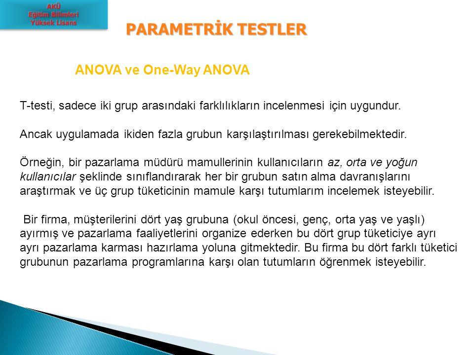 PARAMETRİK TESTLER ANOVA ve One-Way ANOVA T-testi, sadece iki grup arasındaki farklılıkların incelenmesi için uygundur. Ancak uygulamada ikiden fazla