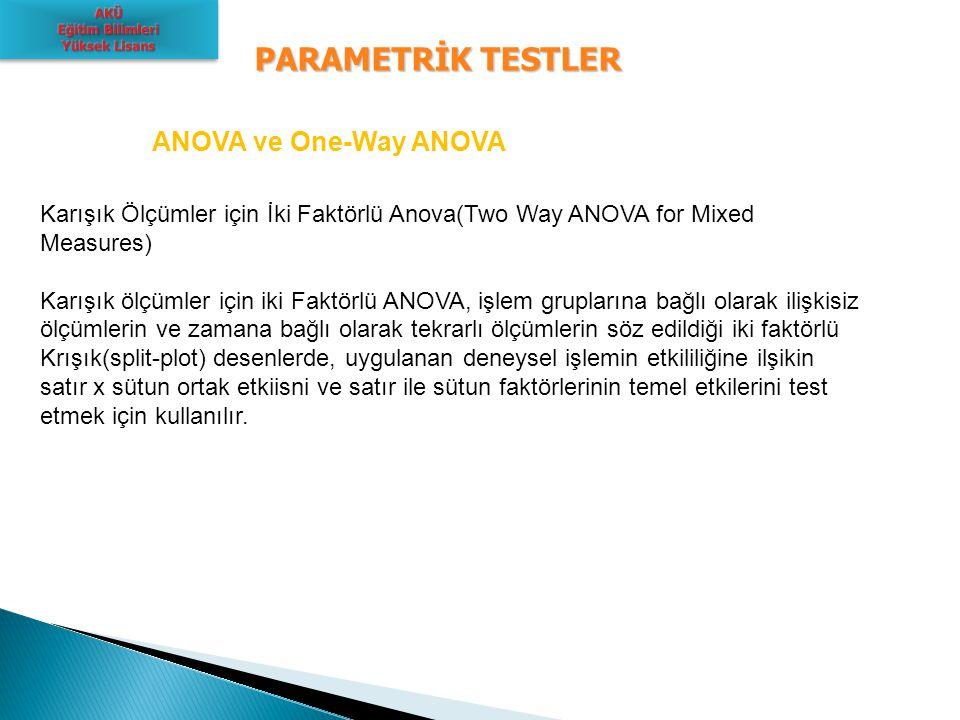 PARAMETRİK TESTLER ANOVA ve One-Way ANOVA Karışık Ölçümler için İki Faktörlü Anova(Two Way ANOVA for Mixed Measures) Karışık ölçümler için iki Faktörl