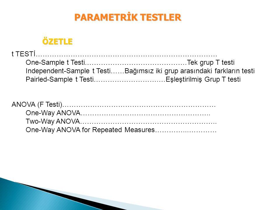 PARAMETRİK TESTLER ÖZETLE t TESTİ…………………………………………………………………… One-Sample t Testi.…………………………………….Tek grup T testi Independent-Sample t Testi……Bağımsız ik