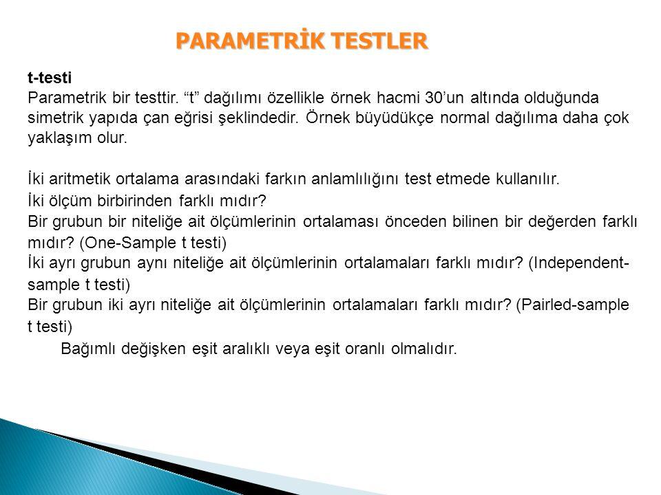 """PARAMETRİK TESTLER t-testi Parametrik bir testtir. """"t"""" dağılımı özellikle örnek hacmi 30'un altında olduğunda simetrik yapıda çan eğrisi şeklindedir."""