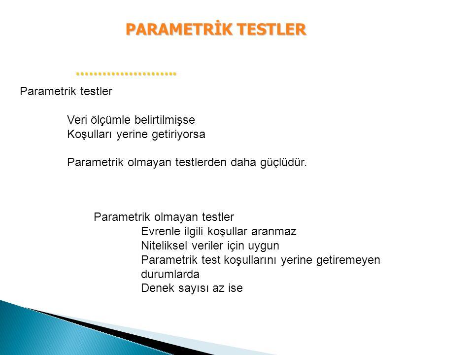 PARAMETRİK TESTLER ………………….. ………………….. Parametrik testler Veri ölçümle belirtilmişse Koşulları yerine getiriyorsa Parametrik olmayan testlerden daha g