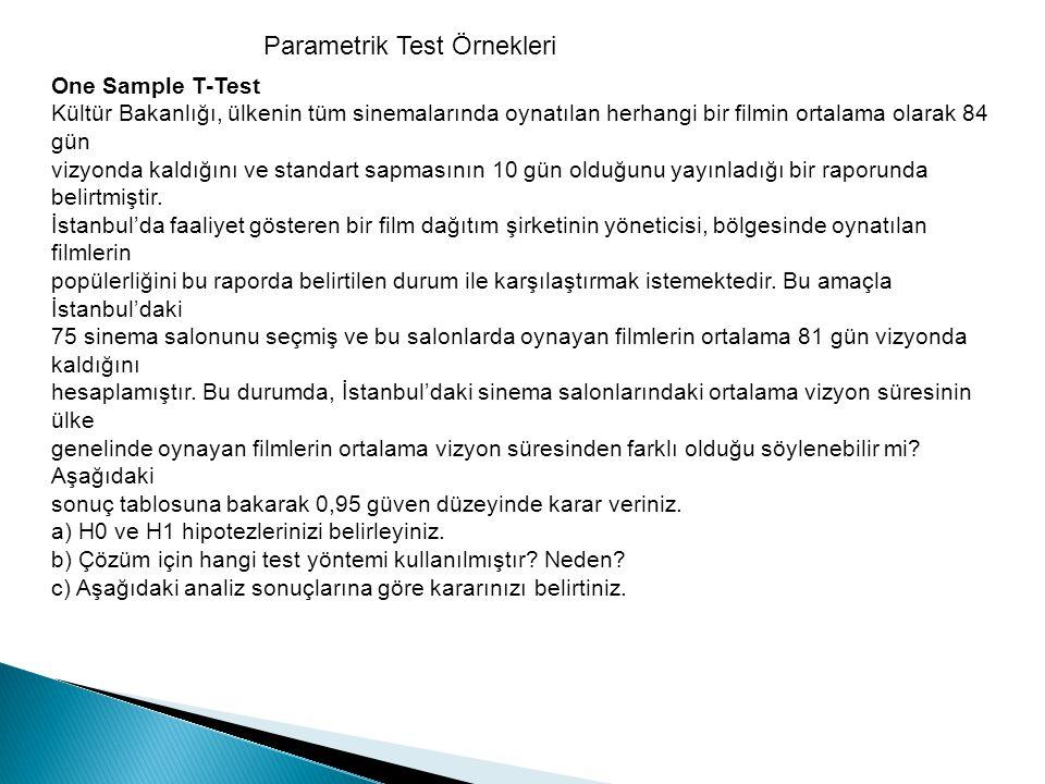 Parametrik Test Örnekleri One Sample T-Test Kültür Bakanlığı, ülkenin tüm sinemalarında oynatılan herhangi bir filmin ortalama olarak 84 gün vizyonda
