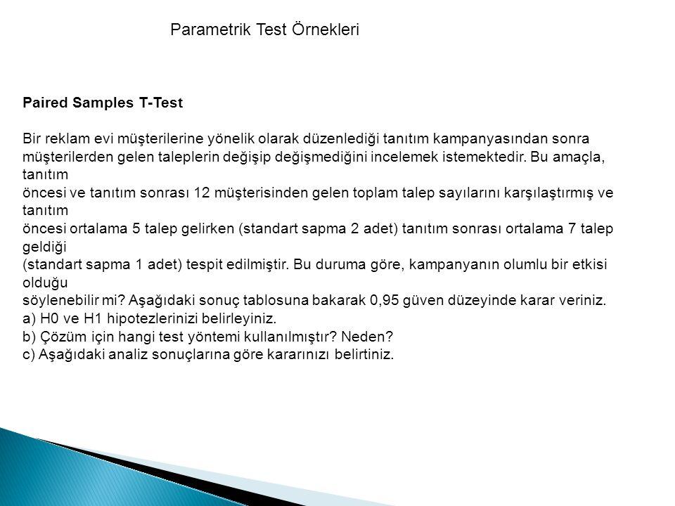Parametrik Test Örnekleri Paired Samples T-Test Bir reklam evi müşterilerine yönelik olarak düzenlediği tanıtım kampanyasından sonra müşterilerden gel
