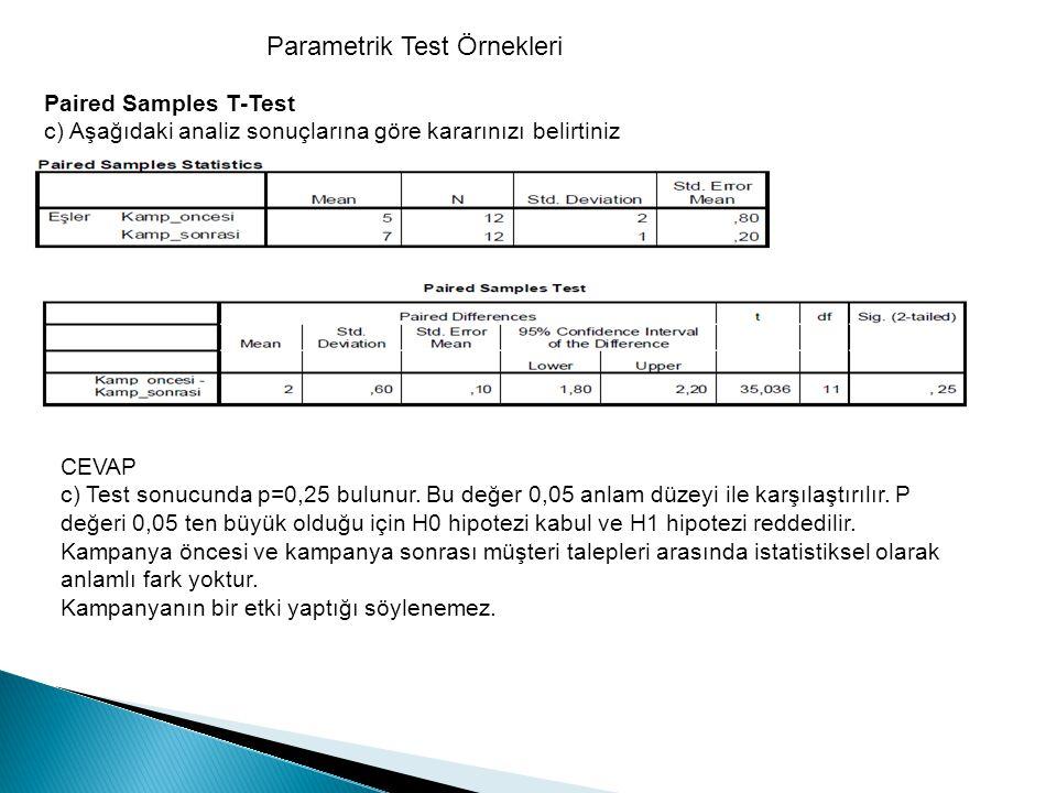Parametrik Test Örnekleri Paired Samples T-Test c) Aşağıdaki analiz sonuçlarına göre kararınızı belirtiniz CEVAP c) Test sonucunda p=0,25 bulunur. Bu