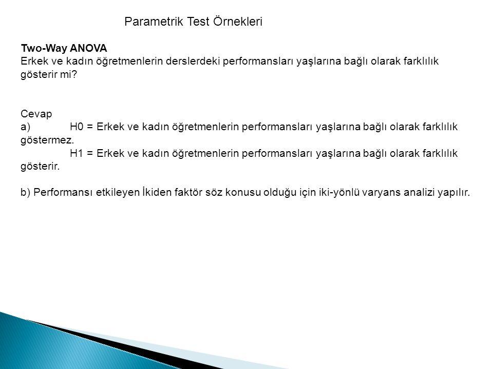 Parametrik Test Örnekleri Two-Way ANOVA Erkek ve kadın öğretmenlerin derslerdeki performansları yaşlarına bağlı olarak farklılık gösterir mi? Cevap a)