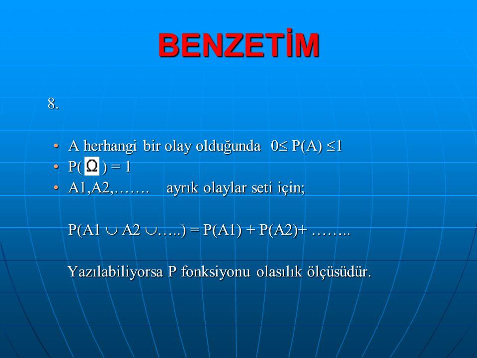 BENZETİM 8. •A herhangi bir olay olduğunda 0  P(A)  1 •P( ) = 1 •A1,A2,……. ayrık olaylar seti için; P(A1  A2  …..) = P(A1) + P(A2)+ …….. Yazılabil