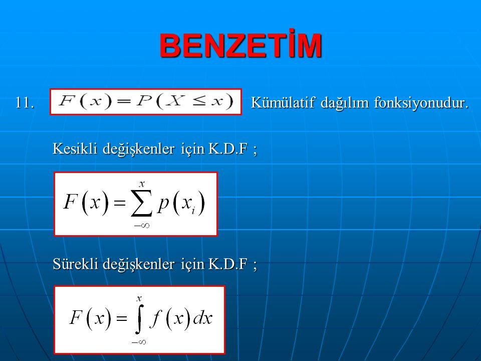 BENZETİM 11. Kümülatif dağılım fonksiyonudur. Kesikli değişkenler için K.D.F ; Kesikli değişkenler için K.D.F ; Sürekli değişkenler için K.D.F ; Sürek