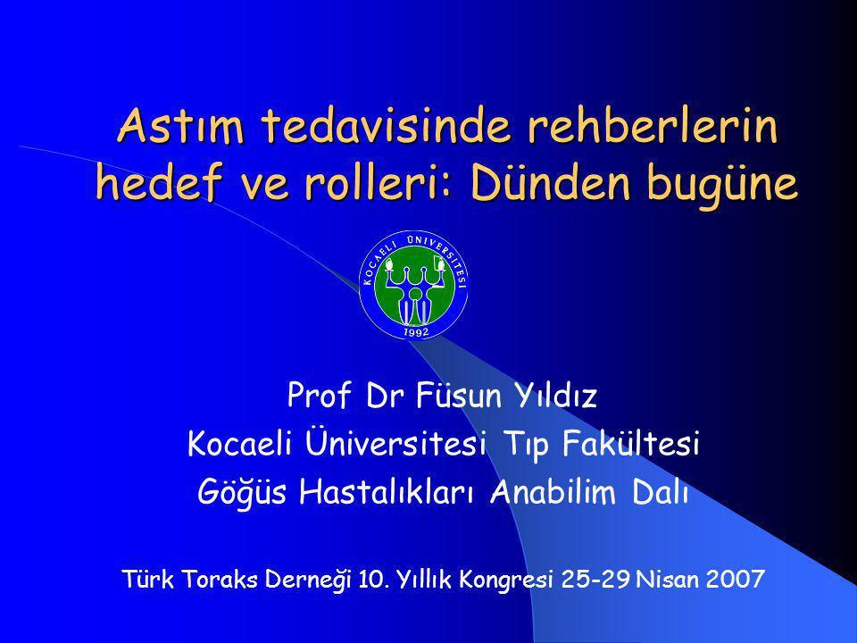 Astım tedavisinde rehberlerin hedef ve rolleri: Dünden bugüne Prof Dr Füsun Yıldız Kocaeli Üniversitesi Tıp Fakültesi Göğüs Hastalıkları Anabilim Dalı