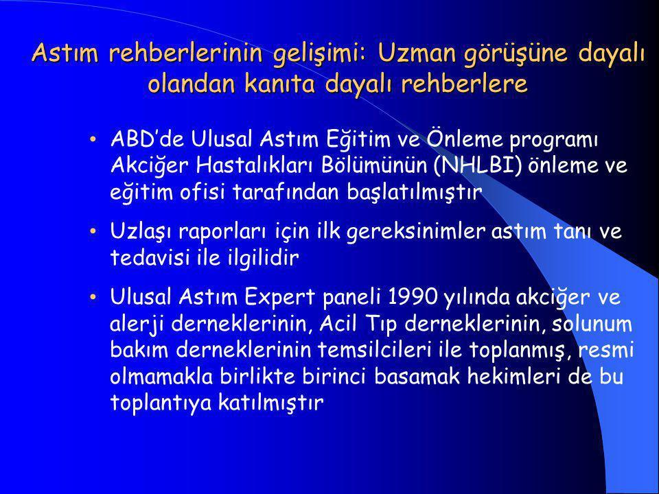 Astım rehberlerinin gelişimi: Uzman görüşüne dayalı olandan kanıta dayalı rehberlere • ABD'de Ulusal Astım Eğitim ve Önleme programı Akciğer Hastalıkları Bölümünün (NHLBI) önleme ve eğitim ofisi tarafından başlatılmıştır • Uzlaşı raporları için ilk gereksinimler astım tanı ve tedavisi ile ilgilidir • Ulusal Astım Expert paneli 1990 yılında akciğer ve alerji derneklerinin, Acil Tıp derneklerinin, solunum bakım derneklerinin temsilcileri ile toplanmış, resmi olmamakla birlikte birinci basamak hekimleri de bu toplantıya katılmıştır