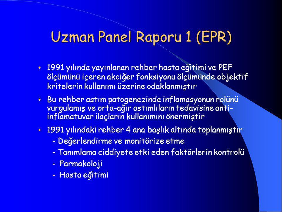 Uzman Panel Raporu 1 (EPR) • 1991 yılında yayınlanan rehber hasta eğitimi ve PEF ölçümünü içeren akciğer fonksiyonu ölçümünde objektif kritelerin kullanımı üzerine odaklanmıştır • Bu rehber astım patogenezinde inflamasyonun rolünü vurgulamış ve orta-ağır astımlıların tedavisine anti- inflamatuvar ilaçların kullanımını önermiştir • 1991 yılındaki rehber 4 ana başlık altında toplanmıştır - Değerlendirme ve monitörize etme - Tanımlama ciddiyete etki eden faktörlerin kontrolü -Farmakoloji -Hasta eğitimi