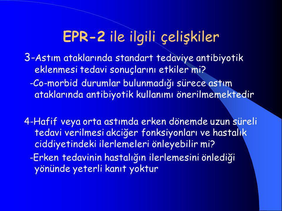 EPR-2 ile ilgili çelişkiler 3- Astım ataklarında standart tedaviye antibiyotik eklenmesi tedavi sonuçlarını etkiler mi.