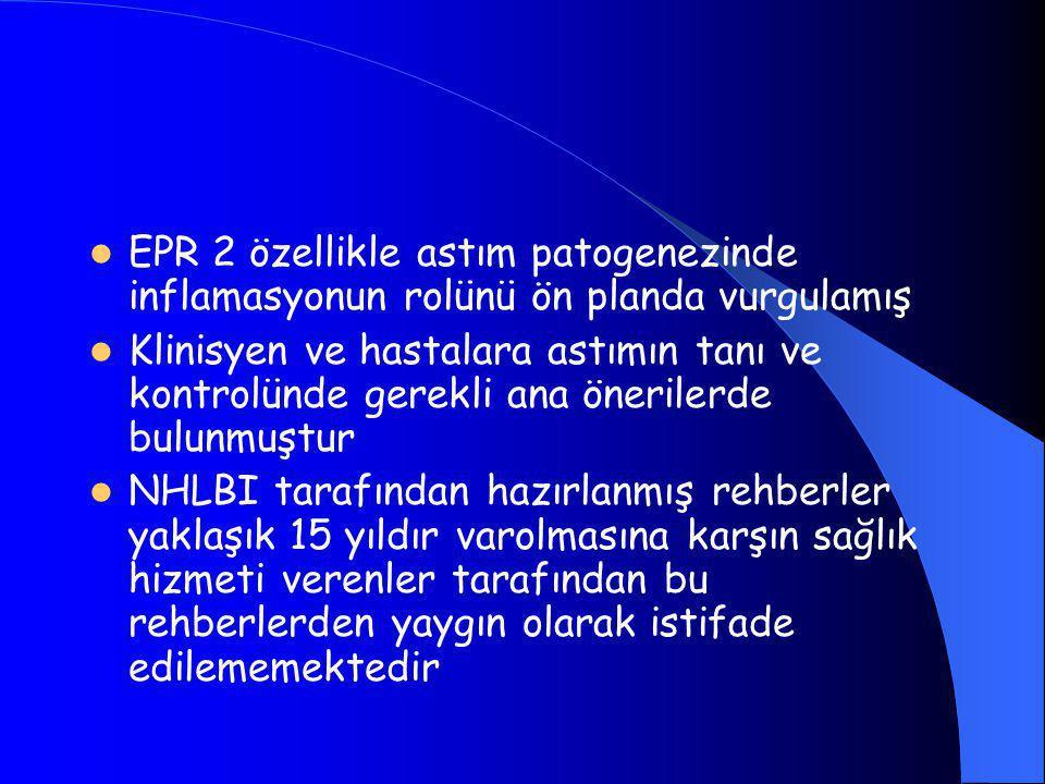  EPR 2 özellikle astım patogenezinde inflamasyonun rolünü ön planda vurgulamış  Klinisyen ve hastalara astımın tanı ve kontrolünde gerekli ana önerilerde bulunmuştur  NHLBI tarafından hazırlanmış rehberler yaklaşık 15 yıldır varolmasına karşın sağlık hizmeti verenler tarafından bu rehberlerden yaygın olarak istifade edilememektedir