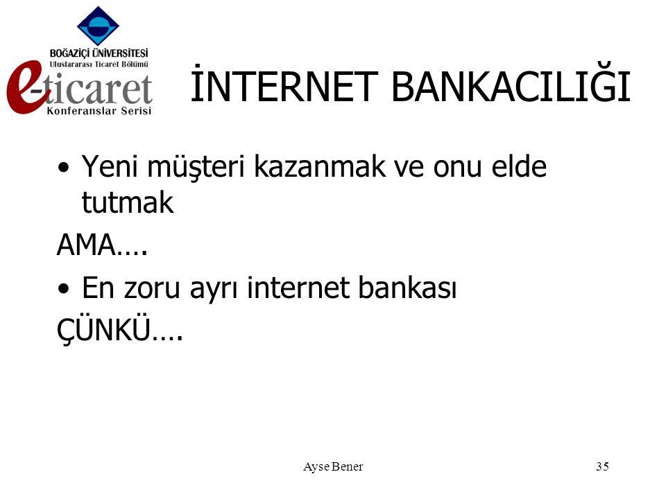 Ayse Bener35 İNTERNET BANKACILIĞI •Yeni müşteri kazanmak ve onu elde tutmak AMA….