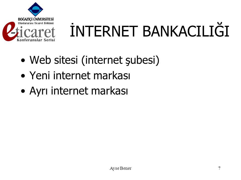 Ayse Bener7 İNTERNET BANKACILIĞI •Web sitesi (internet şubesi) •Yeni internet markası •Ayrı internet markası