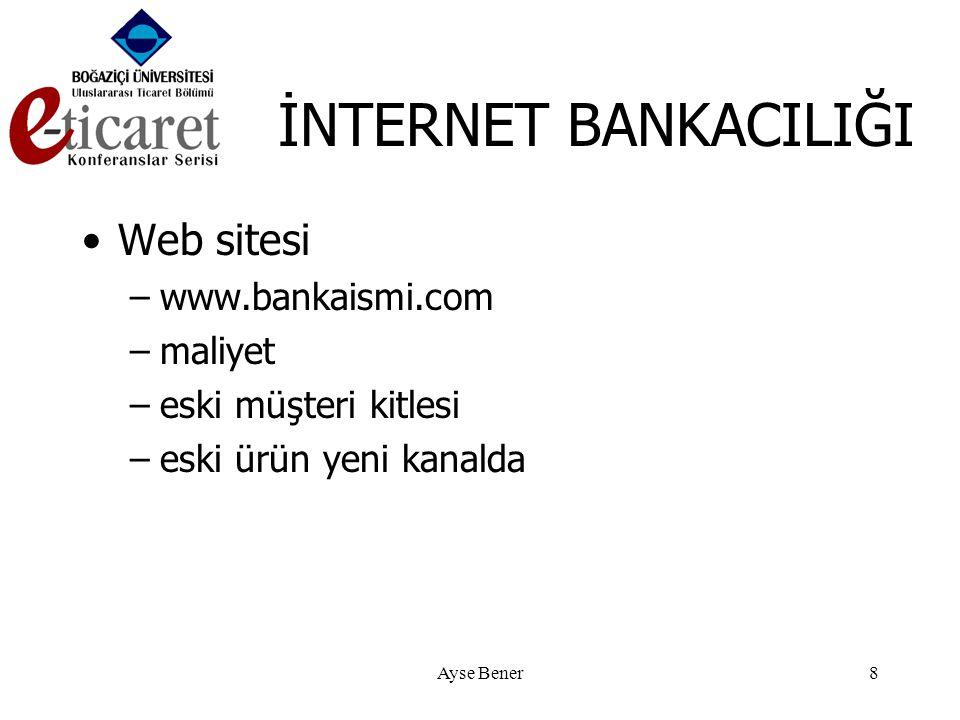 Ayse Bener8 İNTERNET BANKACILIĞI •Web sitesi –www.bankaismi.com –maliyet –eski müşteri kitlesi –eski ürün yeni kanalda