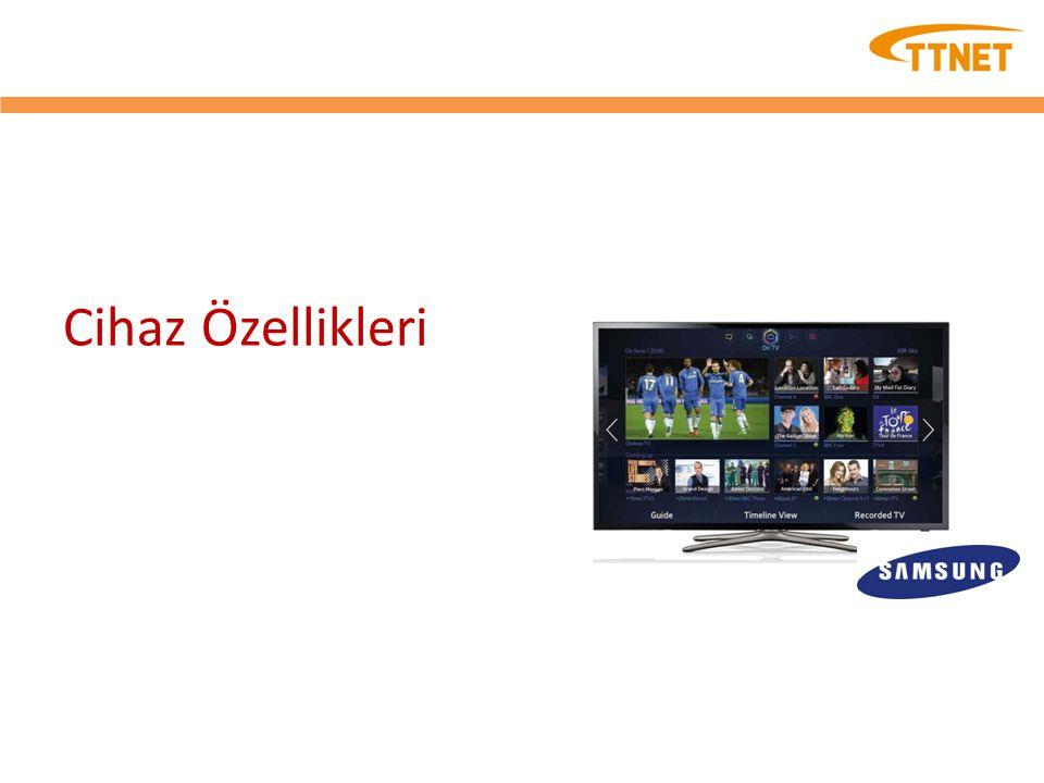 Cihaz Özellikleri – SAMSUNG 46F5570 Ekran Inch46 Çözünürlük1 920 x 1 080 Video Hz Clear Motion Rate100 Resim MotoruHyperReal Engine Dinamik Kontrast OranıMega Kontrast Geniş Renk Yükseltici (Artı)Var Film ModeVar Natural Mode SupportVar Ses Ses Çıkışı (RMS)10 watts x 2 DolbyDolby Digital Plus / Dolby Pulse SRS / DNSe+SRS TheaterSound HD dts 2.0 + Digital Out / DTS Premium Audio DTS Premium Audio Hoparlör TürüAşağıdan Ses Veren + Tam Aralık Smart TV 2.0 Smart HubVar On TV17 AB Ülkesi Movies & TV ShowsEvet (FR, DE, ES, SE, NL, AT, CH) AppsVar SocialVar Photos, Videos & MusicVar FitnessVar KidsVar Samsung SMART ViewEvet (sadece Clone View) S Recommendation17 AB Ülkesi Web BrowserVar Smart Interaction 2.0 Samsung TV Apps DesteğiVar Sistem DTV TunerDVB-T / C / S2 Analog TunerVar Giriş ve Çıkış Bileşen Girişi (Y/Pb/Pr)1 Kompozit Girişi (AV) 1 (Y Bileşeni için Ortak Kullanım) Dijital Ses Çıkışı (Optik)1 Ethernet (LAN)1 HDMI3 RF Girişi (Karasal/Kablo Girişi) 1 RF Girişi (Uydu Girişi)1 USB2 Kulaklık1 IR OutVar Tasarım RHCM Slim Typeİnce 1 Çerçeve TipiNNB Front ColorSiyah Dönme (Sol/Sağ)Var Stant TürüDört Eco Eco İşareti AB Çevre Dostu Onaylı (EU Ecolabel) Eco LabelVar Eco SensorVar Güç Güç Kaynağı AC220 - 240 V 50 / 60 Hz Güç Tüketimi (Maks)117 watts Güç Tüketimi (Bekleme)0,3 watts