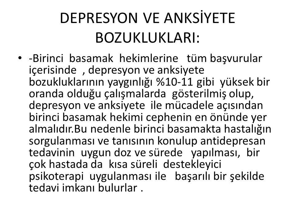 DEPRESYON VE ANKSİYETE BOZUKLUKLARI: • -Birinci basamak hekimlerine tüm başvurular içerisinde, depresyon ve anksiyete bozukluklarının yaygınlığı %10-1