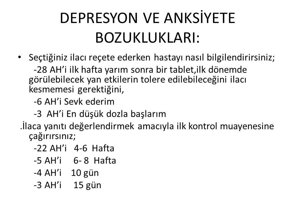 DEPRESYON VE ANKSİYETE BOZUKLUKLARI: • Seçtiğiniz ilacı reçete ederken hastayı nasıl bilgilendirirsiniz; -28 AH'i ilk hafta yarım sonra bir tablet,ilk