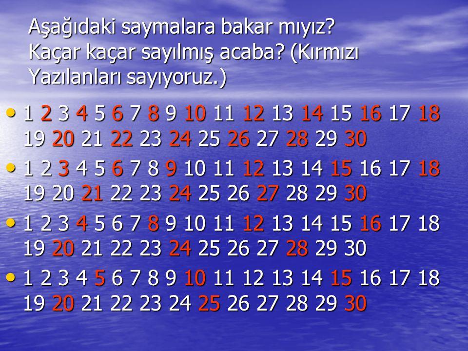 Aşağıdaki saymalara bakar mıyız? Kaçar kaçar sayılmış acaba? (Kırmızı Yazılanları sayıyoruz.) • 1 2 3 4 5 6 7 8 9 10 11 12 13 14 15 16 17 18 19 20 21