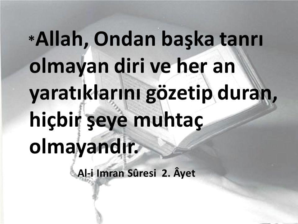 * Allah, Ondan başka tanrı olmayan diri ve her an yaratıklarını gözetip duran, hiçbir şeye muhtaç olmayandır.