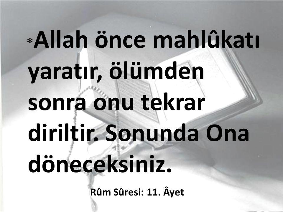 * Allah önce mahlûkatı yaratır, ölümden sonra onu tekrar diriltir.