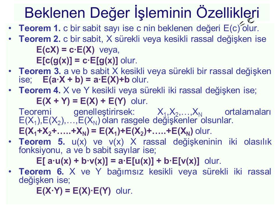 Beklenen Değer İşleminin Özellikleri •Teorem 1. c bir sabit sayı ise c nin beklenen değeri E(c) olur. •Teorem 2. c bir sabit, X sürekli veya kesikli r