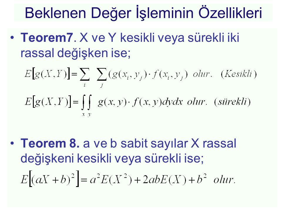 Beklenen Değer İşleminin Özellikleri •Teorem7. X ve Y kesikli veya sürekli iki rassal değişken ise; •Teorem 8. a ve b sabit sayılar X rassal değişkeni