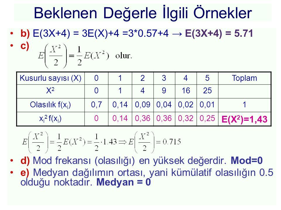 Beklenen Değerle İlgili Örnekler •b) E(3X+4) = 3E(X)+4 =3*0.57+4 → E(3X+4) = 5.71 •c) •d) Mod frekansı (olasılığı) en yüksek değerdir. Mod=0 •e) Medya